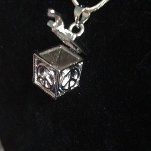 "Jewelry - NWOT Peace Prayer Box, 925 Sterling Chain Ap27"""
